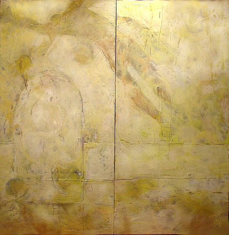 two piece encaustic painting on panel flying man