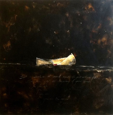 Sacrifice  Vessel   original painting cold wax and oil on panel