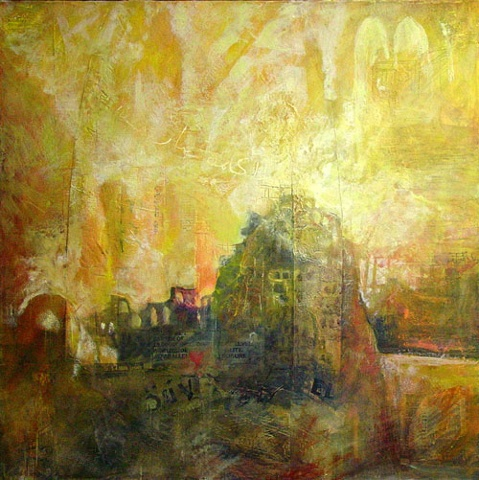 City of God / City of Man mixed media encaustic painting