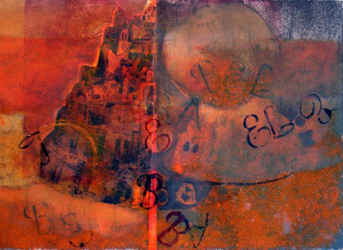 Living Word / Babel collograph
