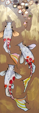 3 Koi Fish in Glossy Nutmeg and Gold