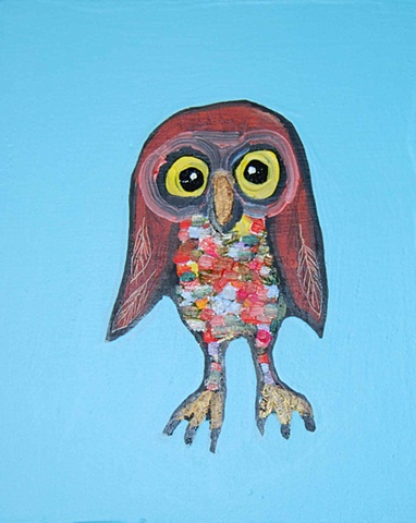 Tiny Brown Owl in Sky Blue