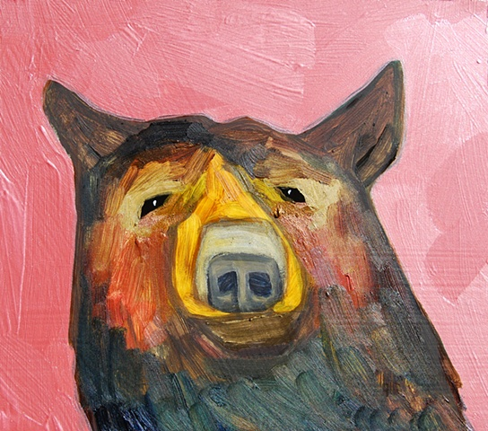 Tiny Brown Bear in Metallic Pink Cloud