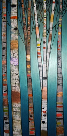 Birch Trees in Metallic Emerald