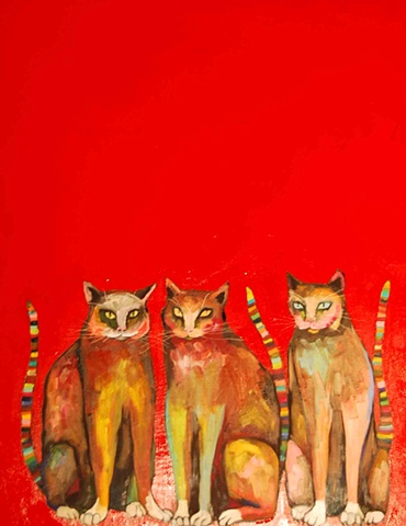 Three Cats in Red