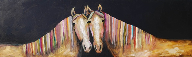 Two Horses in Coffee Brown