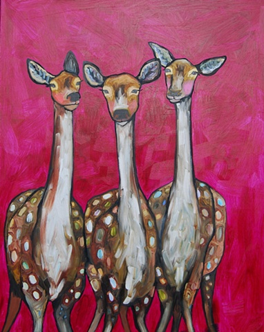 Three Deer in Fuschia