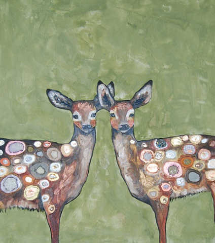 Two Jeweled Fawns in Green Milk Paint