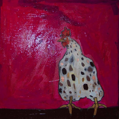 Rooster in Fuschia