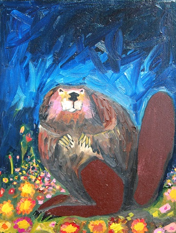Beaver in Prussian Blue with Wildflowers