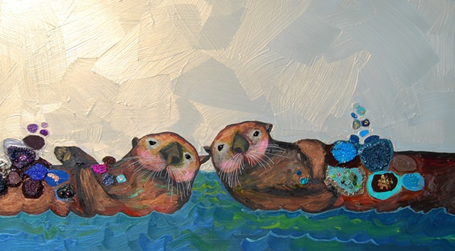 Two Sea Otters in Iridescent Orange Sky 