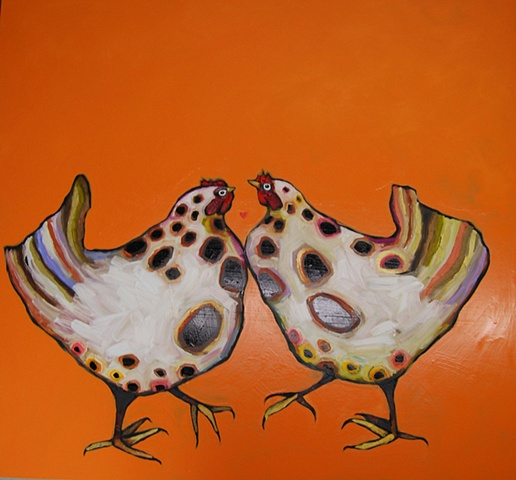 Pair of Chickens in Orange