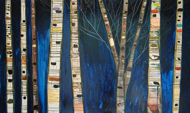 Birch Trees in Prussian Blue