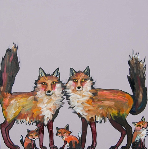 Fox Family in Light Lilac