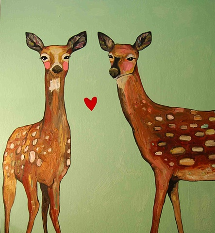 Two Deer with Heart
