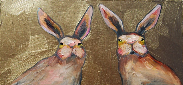 Tiny Rabbits in Metallic Bronze