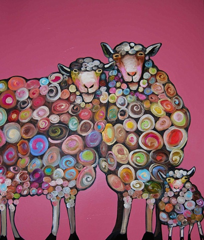 Sheep Family in Strawberry
