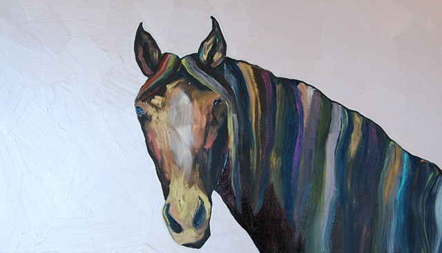 Horse in Super Light Metallic Pink