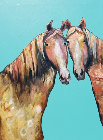 Two Horses in Turquoise