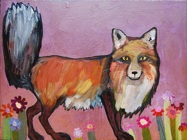 Fox in Electric Lavender with Wildflowers