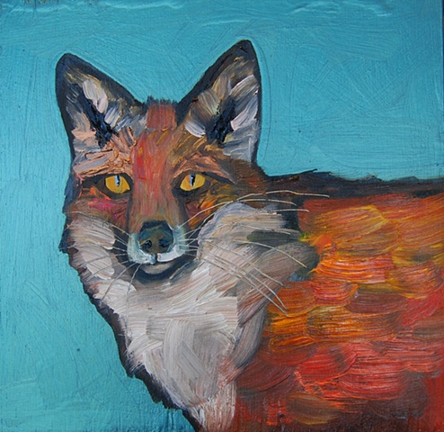 Fox Face in Metallic Emerald Green