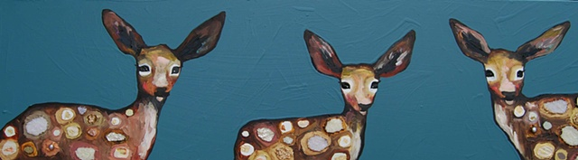 3 Fawns in Dusky Blue