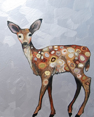 Fawn with Jeweled Spots in Metallic Gray Lavender