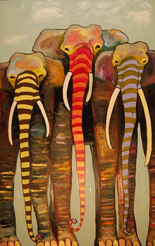 Painted Elephant Trio with Gold and Copper Toes under Clouds