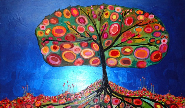 Orange Tree in Metallic Cobalt Blue