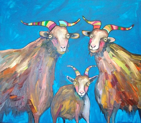 Goat Family in Turquoise Blue