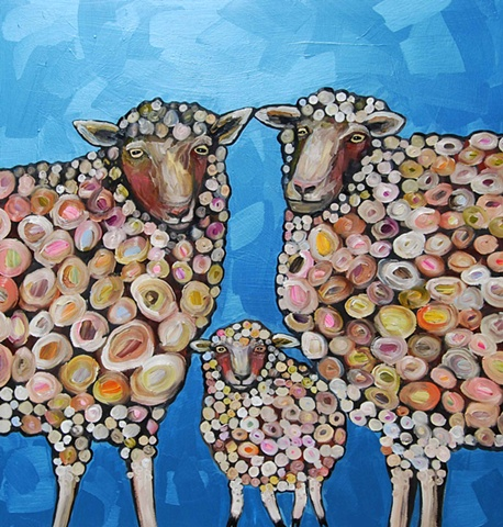 Sheep Family in Metallic Aqua Marine