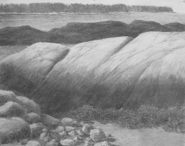 Katherine Meyer drawing charcoal artist Norton Island Artists' Colony downeast Maine Eastern Frontier Society