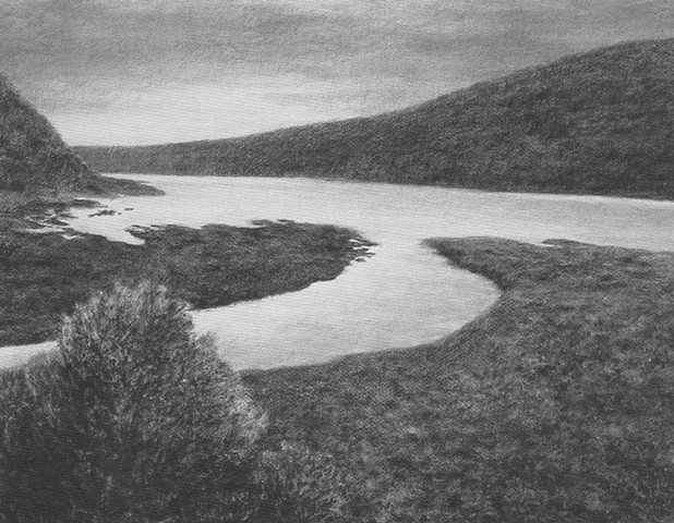 Katherine Meyer drawing charcoal Point Reyes California ocean beach Pacific