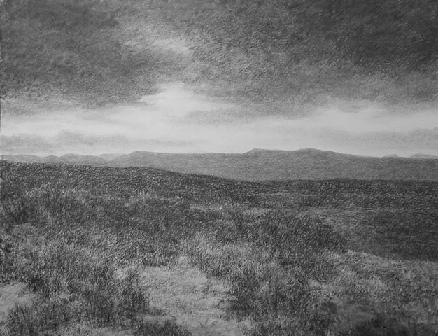 Katherine Meyer charcoal drawing desert New Mexico sky