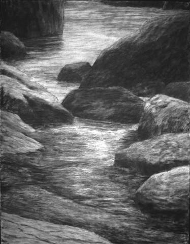 Swans Island Maine charcoal drawing Katherine Meyer