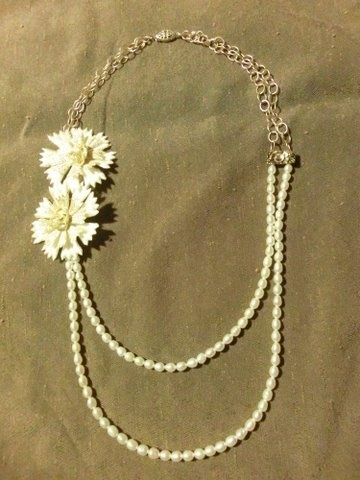 pearls, gold chain, flowers