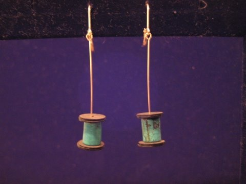 turquoise spool earrings