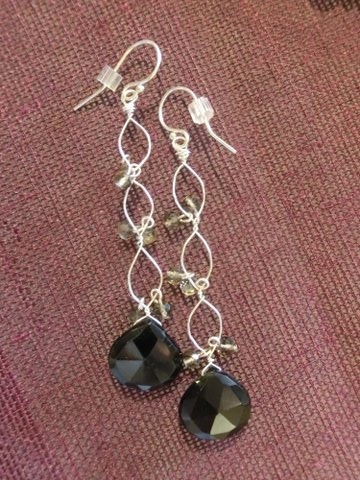 black spinel & grey quartz twists