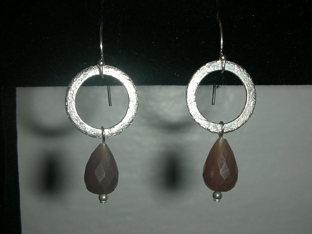 moonstone w/ silver hoops