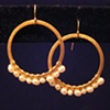 pearl &amp; gold hoops