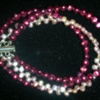 colorful three strand pearls