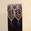 silver leaves with lapis drop