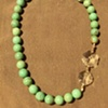dyed green magnesite & antique crystal