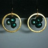 dark green pearls &amp; gold hoops
