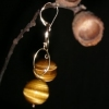 tigers eye &amp; gold loops