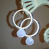 navy &amp; light blue chalcedony hoops