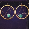 chalcedony, emerald, onyx &amp; gold hoops