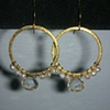 lemon quartz, pearls, gold filled hoops