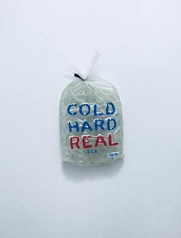 Sculpture of a commercial ice bag