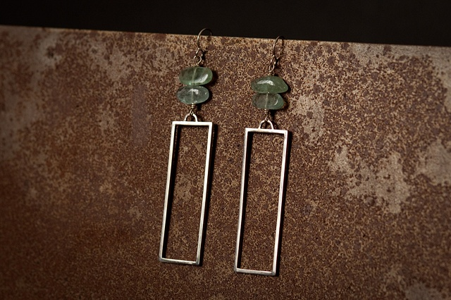 Squared Earrings w/ Aquamarine
